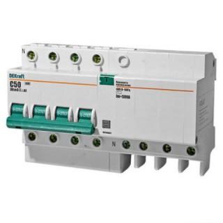 Дифференциальный автомат ДИФ-101 4Р 16А 30мА тип AC 4.5кА DEKraft