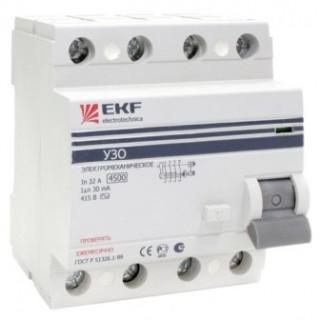 Устройство защитного отключения EKF 4P, 16А/30мА (электромеханическое)