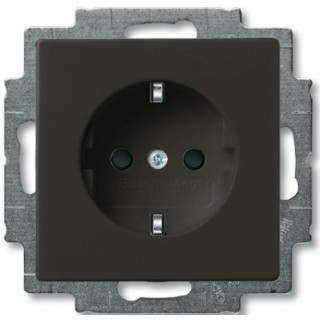 Розетка 2P+E нем. стд. ABB Basic 55 (шато-черный)