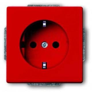 Розетка 2P+E нем. стд. ABB basic 55 (красный)