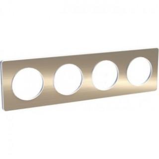 Рамка Schneider Odace четрыхместная полированная бронза/белый