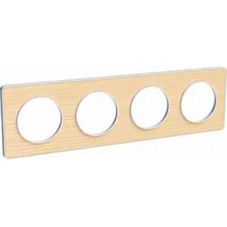 Рамка Schneider Odace четырехместная бук/белый