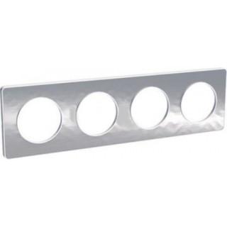 Рамка Schneider Odace четырехместная полированный алюминий/белый