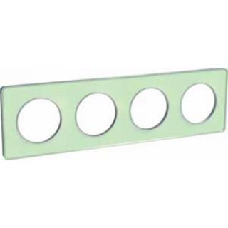 Рамка Schneider Odace четырехместная зеленый лед/алюминий