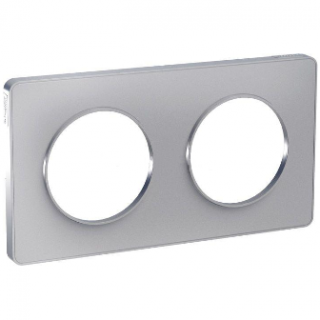 Рамка Schneider Odace двухместная алюминий