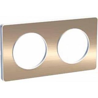 Рамка Schneider Odace двухместная полированная бронза/белый