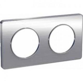 Рамка Schneider Odace двухместная полированный алюминий/алюминий