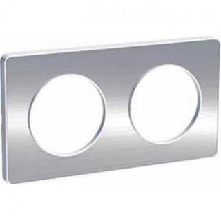 Рамка Schneider Odace двухместная полированный алюминий/белый