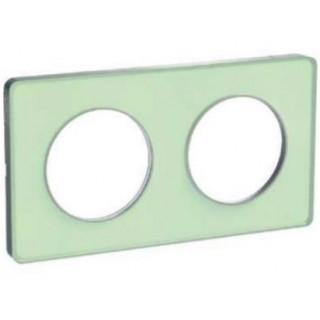 Рамка Schneider Odace двухместная зеленый лед/алюминий