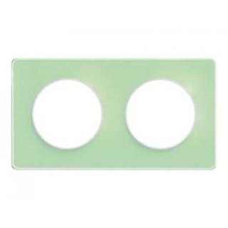 Рамка Schneider Odace двухместная зеленый лед/белый