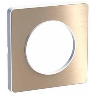 Рамка Schneider Odace одноместная полированная бронза/белый