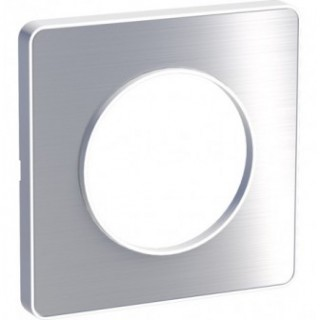 Рамка Schneider Odace одноместная полированный алюминий/белый