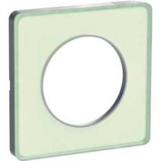 Рамка Schneider Odace одноместная, зеленый лед/алюминий