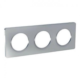 Рамка Schneider Odace трехместная алюминий