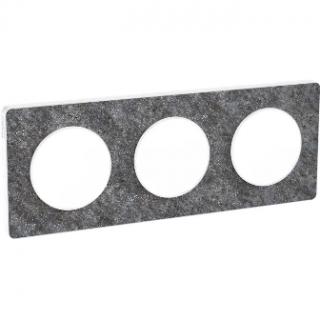 Рамка Schneider Odace трехместная черный фосфор/белый