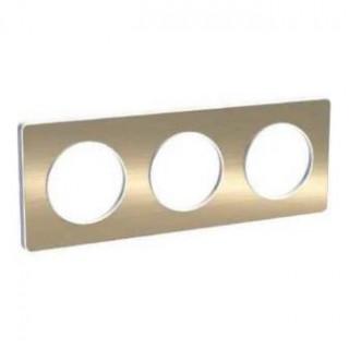 Рамка Schneider Odace трехместная полированная бронза/белый