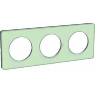 Рамка Schneider Odace трехместная зеленый лед/алюминий