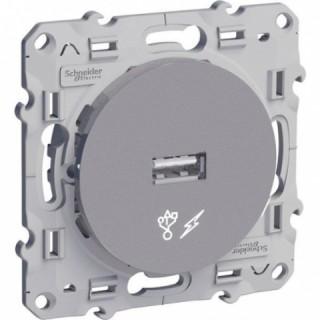 USB розетка Schneider Odace алюминиевая