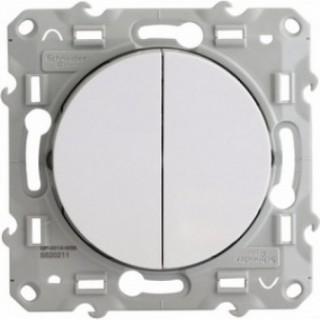 Выключатель Schneider Odace двухклавишный 16 А, 250 В, пружинный зажим, белый