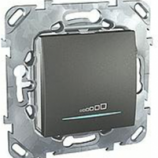Диммер нажимной Schneider Unica 25-300w графит