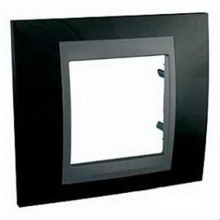 Рамка 1 место Schneider Unica металл Родий/черный
