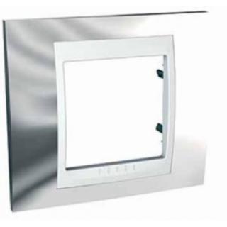 Рамка 1 место Schneider Unica металл Хром/белый