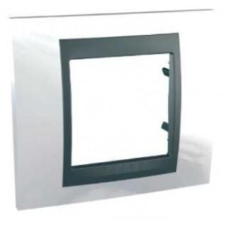 Рамка 1 место Schneider Unica металл Нордик/белый алюминий