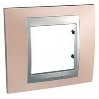 Рамка 1 место Schneider Unica металл Оникс/медь