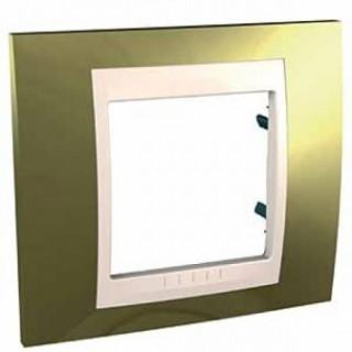 Рамка 1 место Schneider Unica металл Золото/слоновая кость