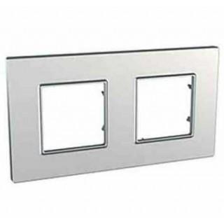 Рамка 2 места Schneider Unica Quadro серебро