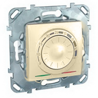 Электронный термостат Schneider Unica 10A с термодатчиком пола слоновая кость