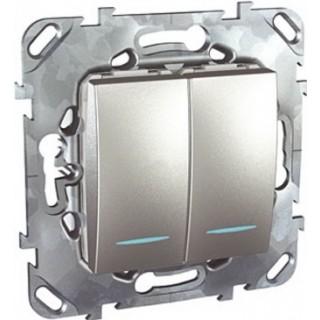 Выключатель двухклавишный проходной с подсветкой Schneider Unica алюминий