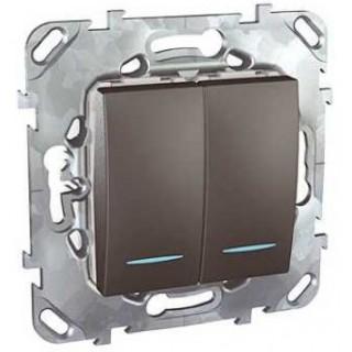 Выключатель двухклавишный с подсветкой Schneider Unica графит