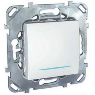 Выключатель одноклавишный кнопочный с подсветкой Schneider Unica белый