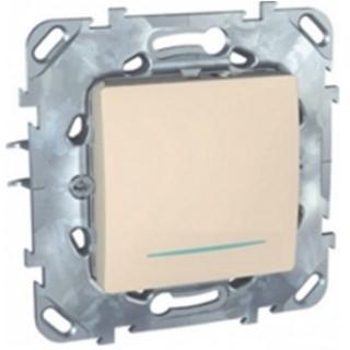 Выключатель одноклавишный кнопочный с подсветкой Schneider Unica слоновая кость