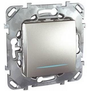 Выключатель одноклавишный крестовой с подсветкой Schneider Unica алюминий