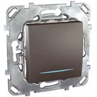 Выключатель одноклавишный крестовой с подсветкой Schneider Unica графит