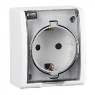 Розетка наружной установки 2P+E (с заземлением) Simon IP54 с крышкой белый