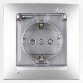Розетка 2Р+Е Schuko (со шторками, с заземлением, с крышкой) Simon 1590450-033 алюминий