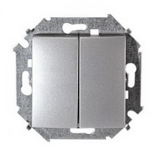 Выключатель двухклавишный Simon 1591398-033 алюминий
