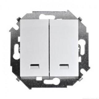 Выключатель двухклавишный  с подсветкой Simon 1591392-030 белый