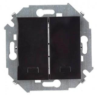 Выключатель двухклавишный  с подсветкой Simon 1591392-032 черный