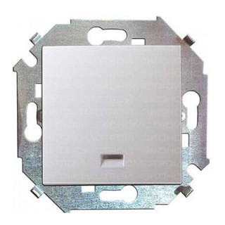 Выключатель одноклавишный с подсветкой Simon 1591104-033 алюминий