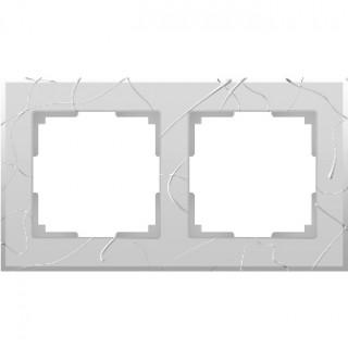 Рамка на 2 поста WL06-Frame-02 серебряный