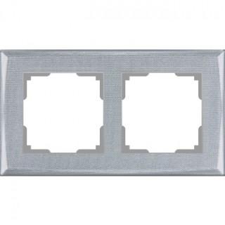 Рамка на 2 поста WL10-Frame-02 серебряный