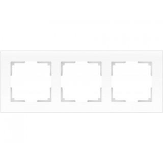 Рамка на 3 поста стекло WL01-Frame-03 белый