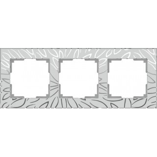 Рамка на 3 поста WL09-Frame-03 серебряный