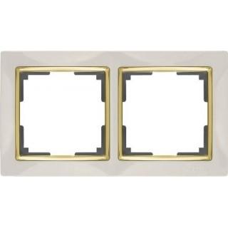 Рамка на 2 поста WL03-Frame-02-ivory-GD слоновая кость/золото