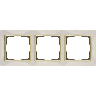 Рамка на 3 поста WL03-Frame-03-ivory-GD слоновая кость/золото