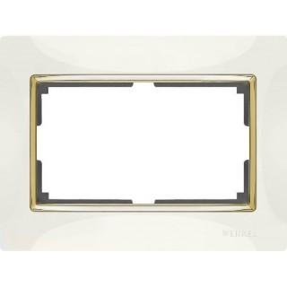 Рамка для двойной розетки WL03-Frame-01-DBL-ivory-GD слоновая кость/золото